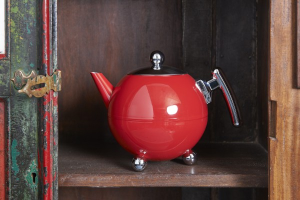 Edelstahl Teekanne Duet® Bella Ronde 1,2L, rot, Beschläge chromfarben