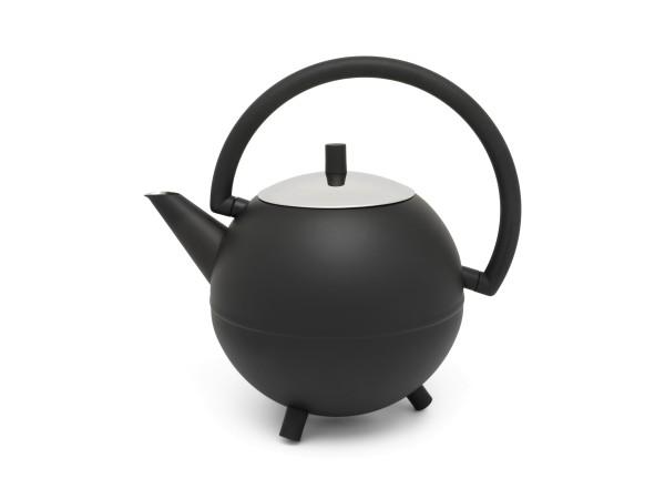 Edelstahl Teekanne Duet® Design Saturn - 1,2L , schwarz matt