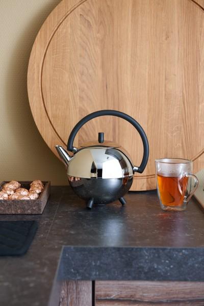 Edelstahl Teekanne Duet® Design Saturn - 1,2L , silber, schwarze Beschläge
