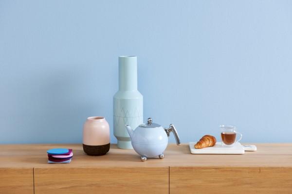 Edelstahl Teekanne Duet® Bella Ronde 1,2L, blau, Beschläge chromefarben